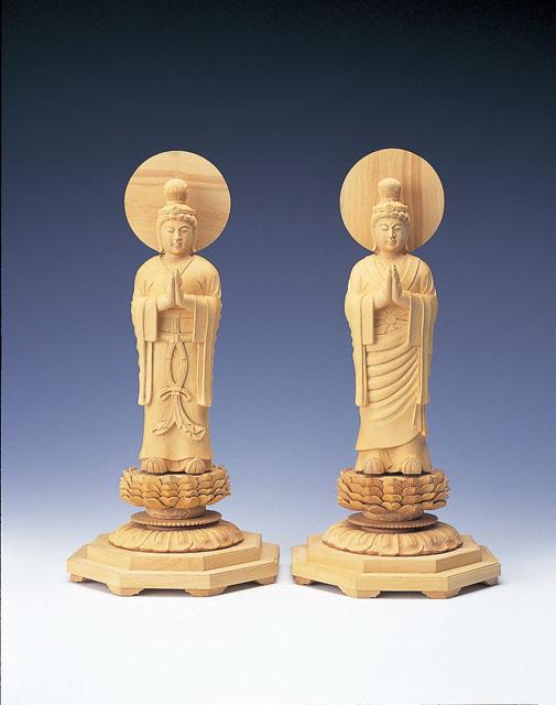 木製仏像 日光・月光菩薩(2体1組)本つげ製