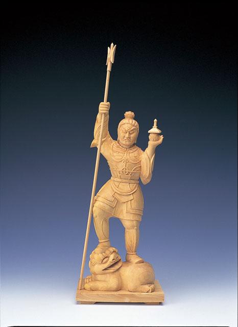 木製仏像 毘沙門天(本つげ製)