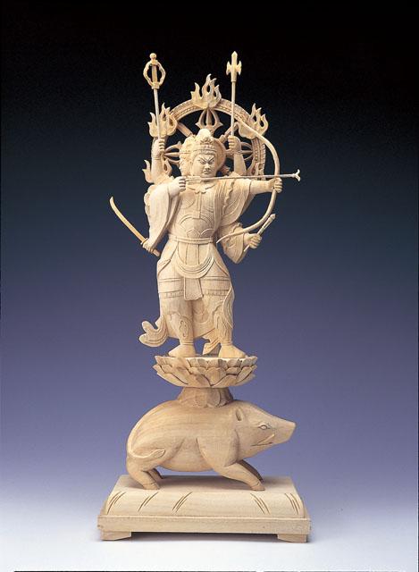 木製仏像 摩利支天(桧木製)
