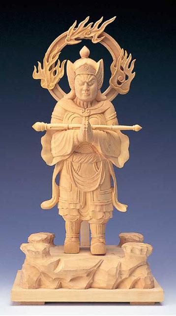 木製仏像 韋駄天(本つげ製)