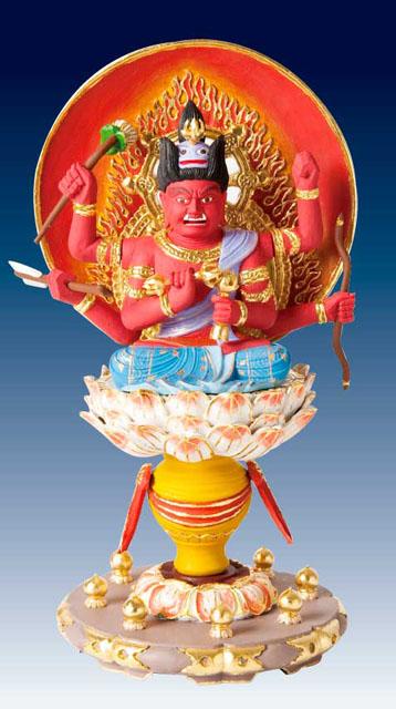 木製仏像 愛染明王(彩色)本つげ製