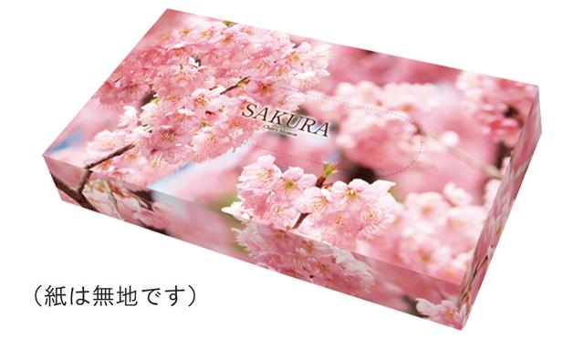 桜ボックスティッシュ・長方形タイプ (40W 100箱セット)