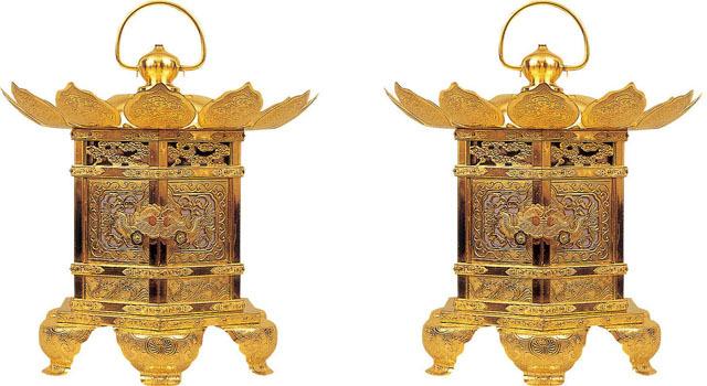 六角型猫足吊灯籠(一対)