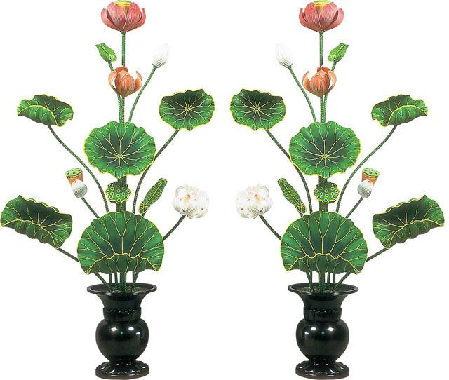 木製常花(一対)彩色