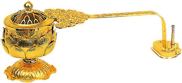 蓮華型柄香炉(打物製)