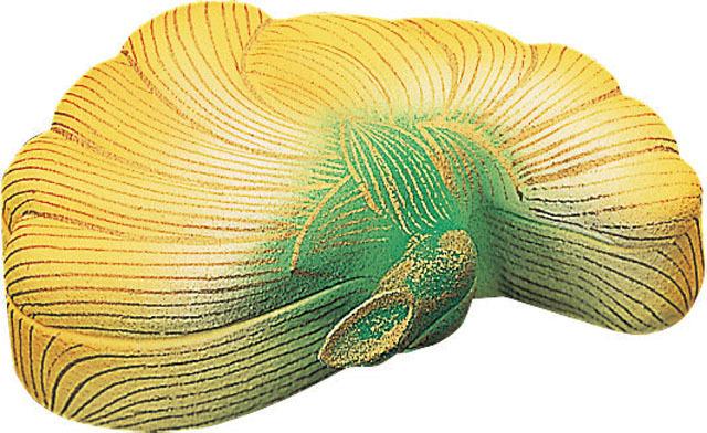 木製彩色香合 菊華(黄)