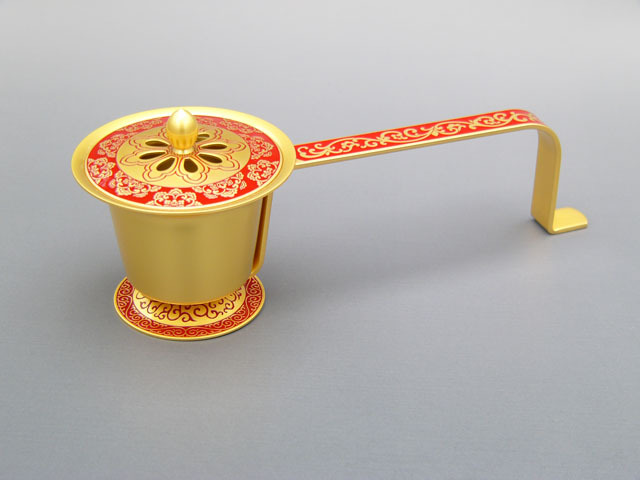 唐草豆柄香炉(赤)