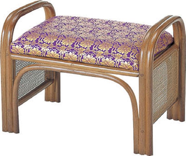 籐製仏前金襴座椅子(紫色)