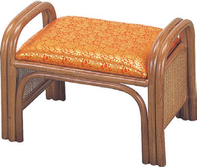 籐製仏前金襴座椅子(朱色)