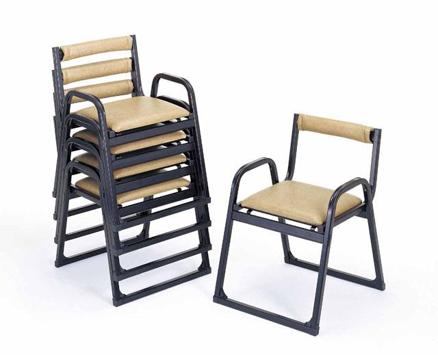 アルミ製 本堂用椅子(背もたれ付) 5脚セット