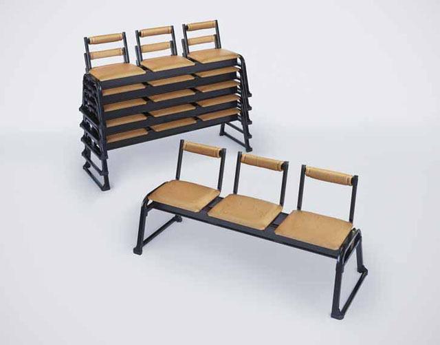 アルミ製 本堂用長椅子3人掛け用(背もたれ付)2脚セット
