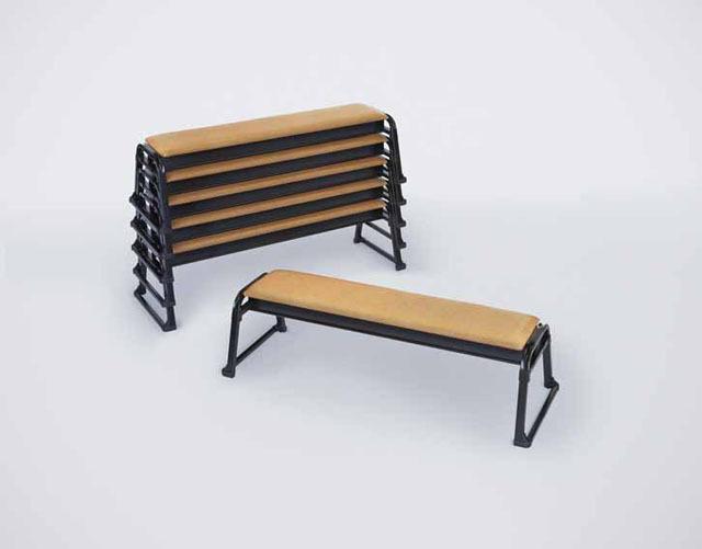 アルミ製 本堂用長椅子3人掛け用(背もたれ無)2脚セット