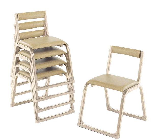 アルミ製 本堂用椅子(香色・背もたれ無) 5脚セット
