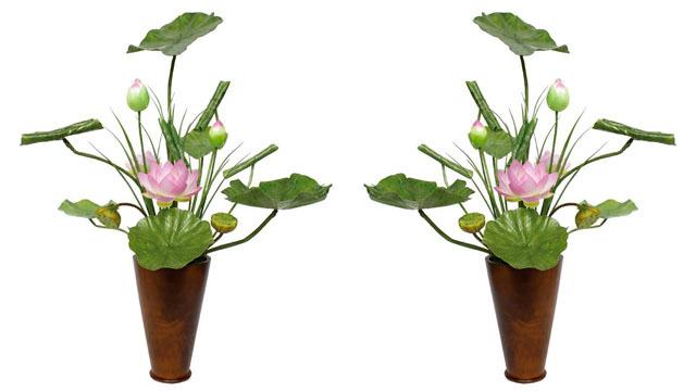 シルク常花(花器付)一対