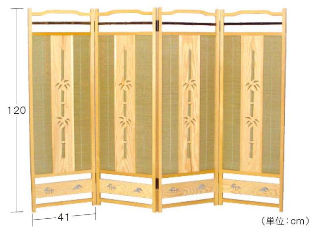 簾屏風(白木透かし彫)