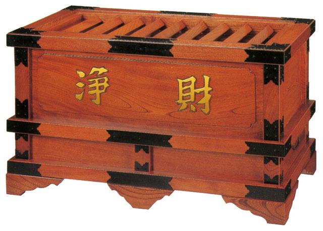 欅製柱付賽銭箱