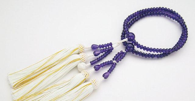 京念珠<日蓮宗>紫水晶共仕立(8寸平玉)