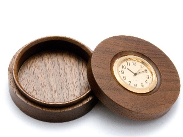 平安木象嵌時計付香合(大・75mm)