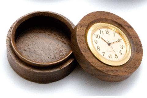 平安木象嵌時計付香合(小・55mm)