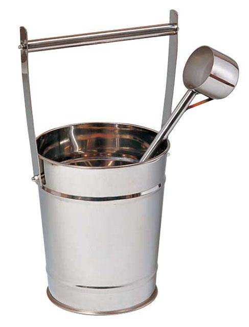 ステンレス製手桶(柄杓付)