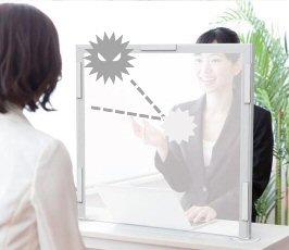 ☆新型コロナ等感染症対策に☆飛沫防止シールド パーテーションスタンド 窓作成可 卓上