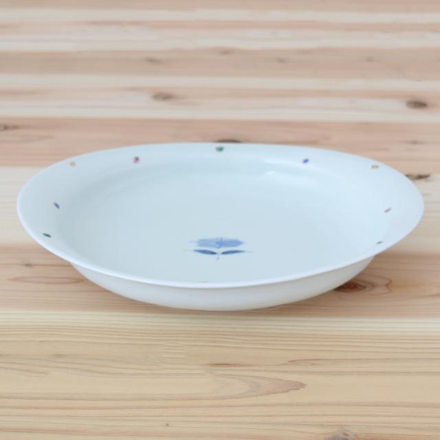 波佐見焼 康創窯 カレー皿 パスタ皿 楕円皿 プレート 浅鉢 和食器 セレクトショップ Danlife 花 水玉
