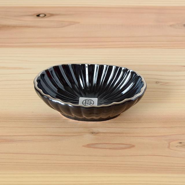 波佐見焼 団陶器 團陶器 和食器 器 うつわ 長崎良品 鎬 しのぎ 小付 豆皿 小鉢 黒 金 銀 瑞幸窯
