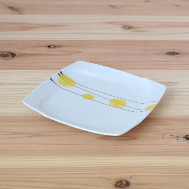 波佐見焼  和食器 セレクトショップ Danlife  水玉 ドット 皿 焼皿 角皿  福峰窯