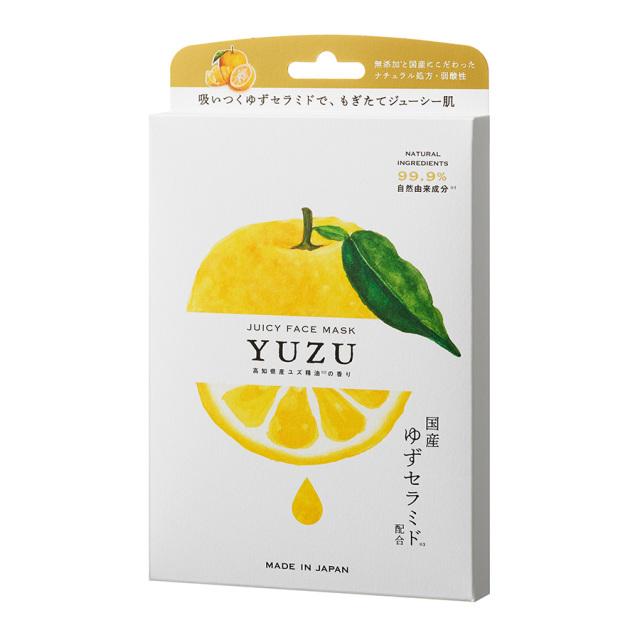 高知県産YUZU ジューシーフェイスマスク 5枚入り