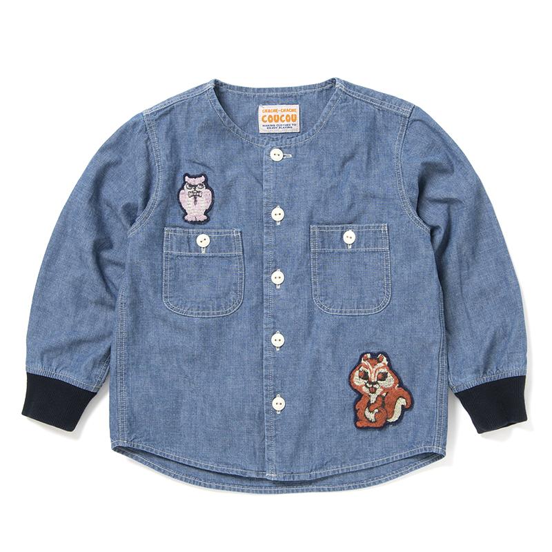 森の動物シャンブレーシャツ【C-5000A-BIG】130サイズ