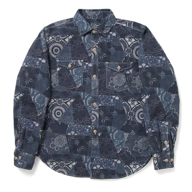 藍布パッチワークプリントシャツ【5661】