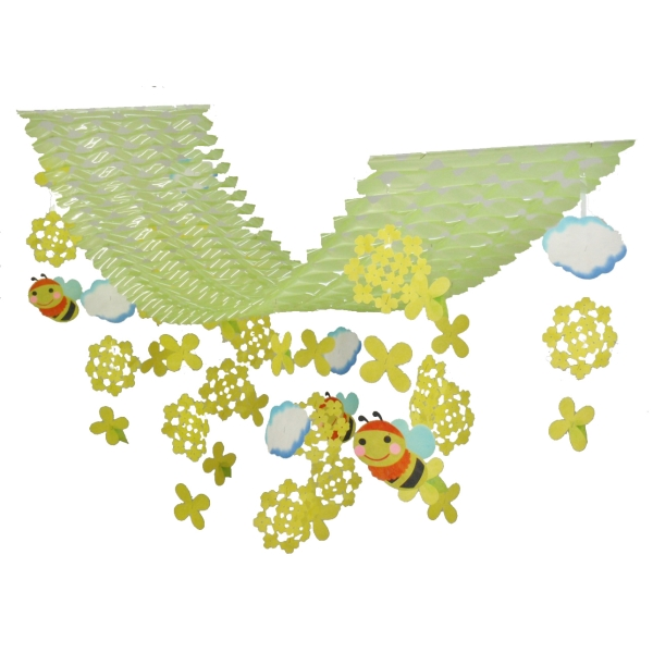 菜の花ミツバチプリーツハンガー(2134049)[春 花 飾り 販促グッズ 店内装飾 プリーツハンガー]