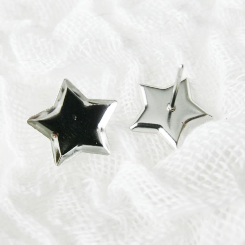 スタッドピアス 16 シルバー ステンレス 星 スター