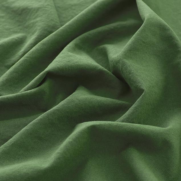生地・布 ≪ 無地ハーフリネン バイオウォッシュ 28 ディープグリーン ≫ ハーフリネン/幅143cm 【10cm単位販売】