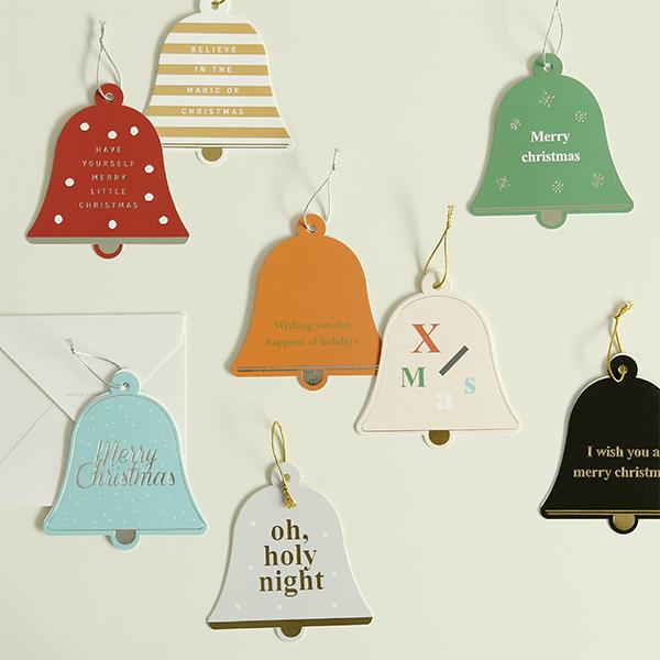 クリスマスベルカード Christmas Bell Card  1枚入り 【グリーティング】【ラッピング】【メール便対応】