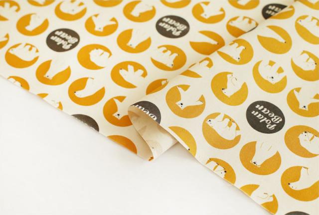 生地・布 ≪ シロクマ - yellow ≫  コットン/幅110cm 【10cm単位販売】【メール便OK】
