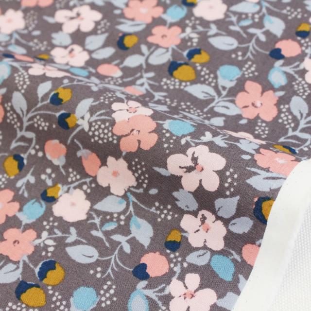 生地・布・入園入学 ≪ Rose Cottage - 灰 byzantine gray ≫コットン/幅110cm  【10cm単位販売】