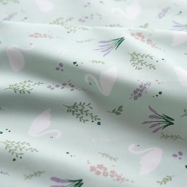 生地・布・入園入学 ≪ Floral swan - ミント ≫コットン/幅110cm  【10cm単位販売】
