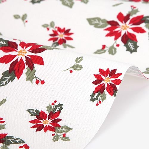 生地・布 ≪ Merry christmas - poinsettia ≫  オックス/幅148cm デコレクションズオリジナル生地・布 【10cm単位販売】【メール便OK】