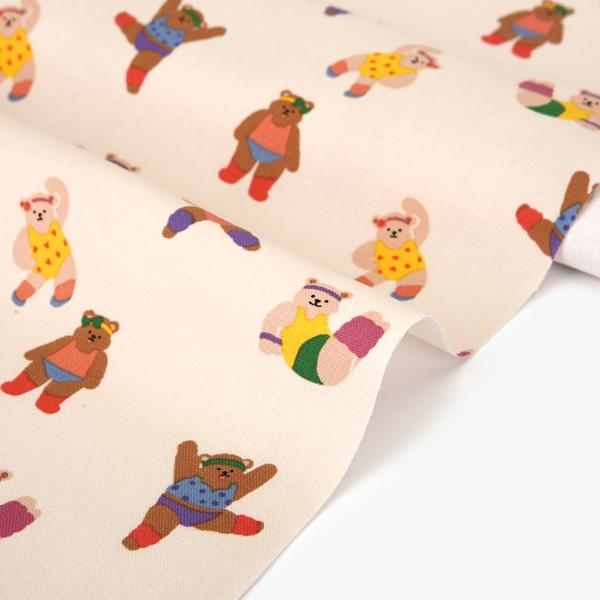 生地・布 ≪ Aerobic bear ≫ オックス/幅150cm デコレクションズオリジナル生地・布 【10cm単位販売】