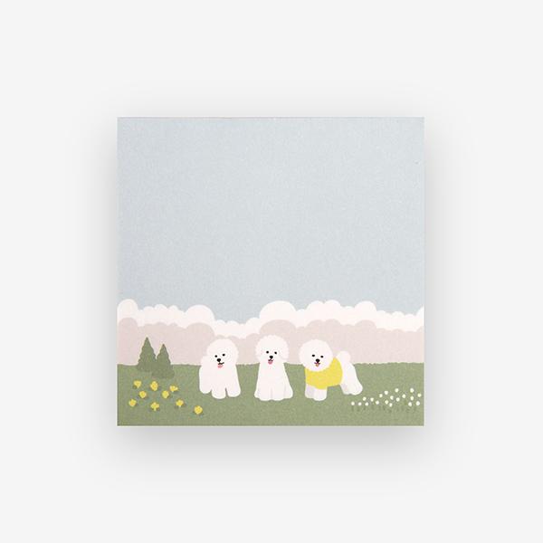 メモ用紙 Memo pad - 03 Bichon frise 【グリーティング】【ラッピング】【メール便対応】