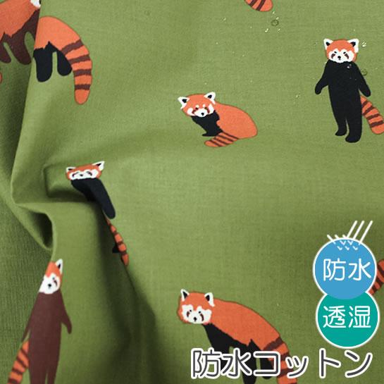 防水北欧風生地・布 ≪ Lesser panda ≫ 防水コットン/幅110cm デコレクションズオリジナル生地・布【10cm単位販売】