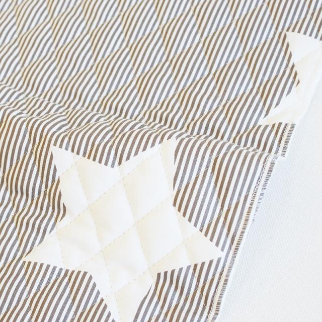 【入園入学セットレシピ】 生地・布・入園入学 ≪ Cocoa gray star ≫キルティング/幅105cm 【10cm単位販売】