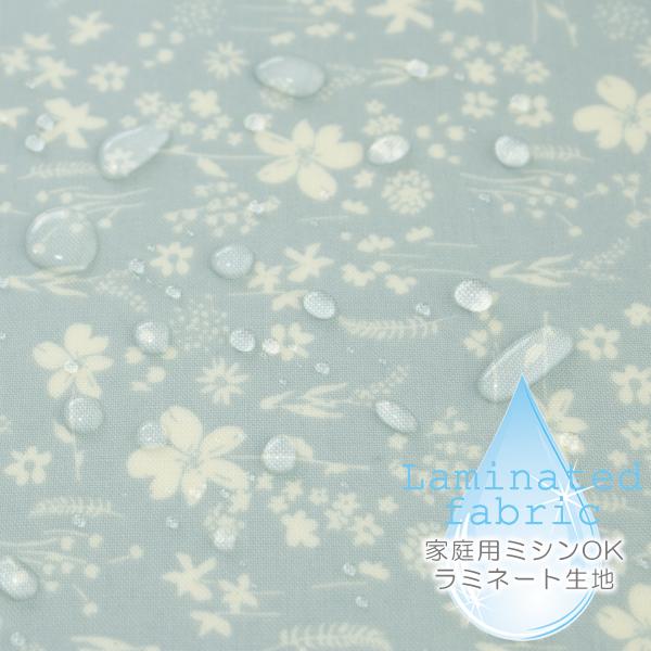 生地・布 ≪ Meadow fair - mint ≫ ラミネート生地/幅100cm 手ざわりサラサラ・つや消しラミネート生地(ふつう厚) 【10cm単位販売】