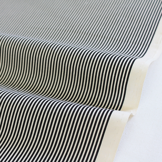 生地・布 ≪YUWA stripe - ブラック×キナリ ≫  コットン生地/幅108cm/シャーティング YUWA/有輪商店/YUWAコットン 【10cm単位販売】