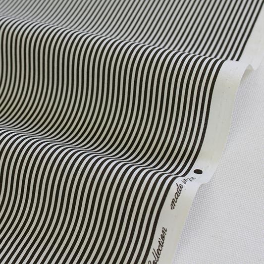 生地・布 ≪YUWA stripe -チャコール×オフ ≫  コットン生地/幅108cm/シャーティング YUWA/有輪商店/YUWAコットン 【10cm単位販売】
