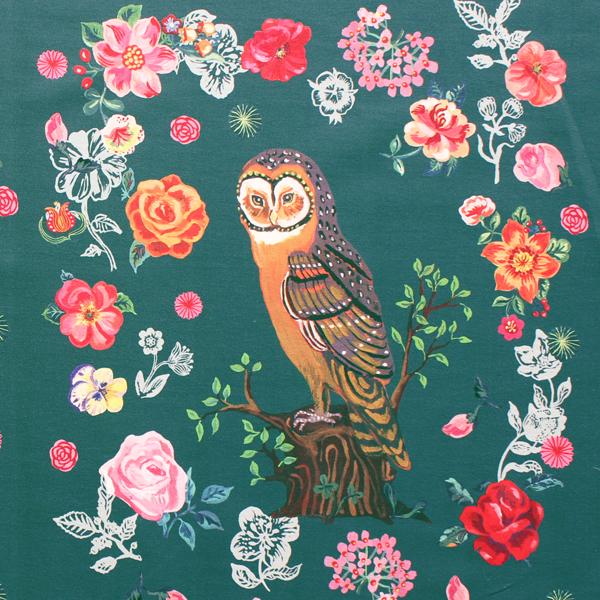 生地・布 ≪ Greeny owl ≫  オックス/幅148cm/パネル生地 ナタリーレテ/Nathalie Lete 【リピート単位販売】