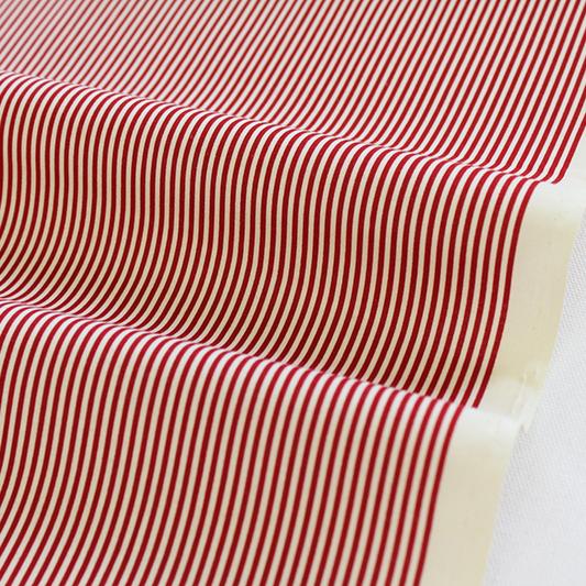 生地・布 ≪YUWA stripe -ディープレッド×キナリ ≫  コットン生地/幅108cm/シャーティング YUWA/有輪商店/YUWAコットン 【10cm単位販売】