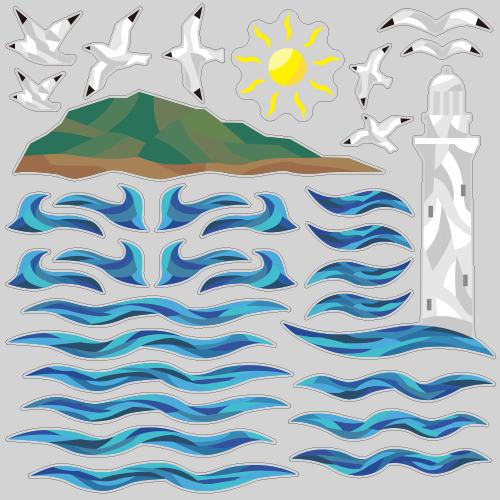 【VP】カットガラス風 灯台と海の写真