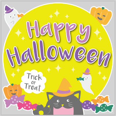 Happy Halloween ブラックキャットタイトル
